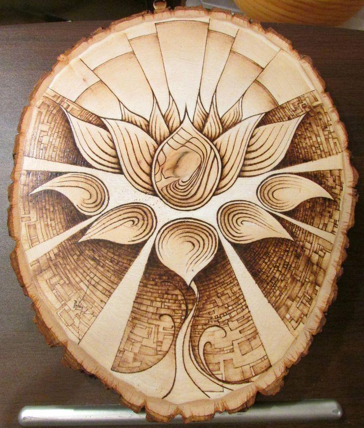 """Lotus"" pyrography wood-burned art on basswood #blacklotus #flower"