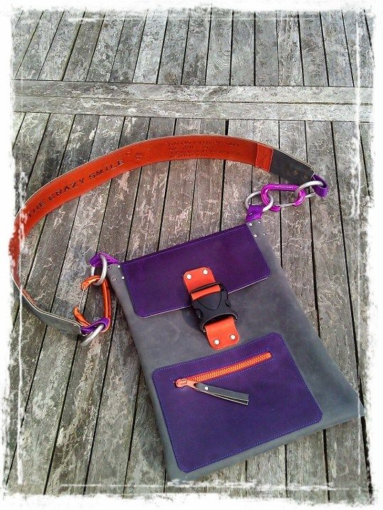 Handmade Leather Bag with TheCrazySmile and Quote on shoulder trap. Colorful!