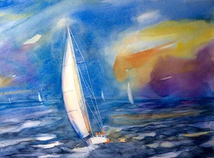 Aquarel Titel: Na de race. Gemaakt door: Els van der Lugt Een les op de aquarel academie van Jacky Pearson 17-11-2016