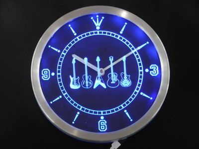 nc0150-b Guitar Weapons Band Room Neon Sign LED Wall Clock