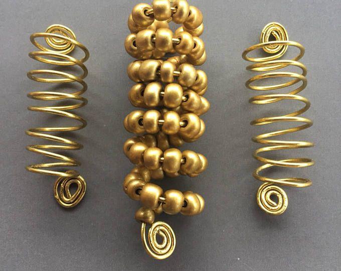 Gold Coil Locs Jewelry Gold Spiral & Metallic Gold Glass Beads Set of 3 Dreadlock Cuffs Hair Jewelry Braids Dreadlock Jewelry Sisterlocs