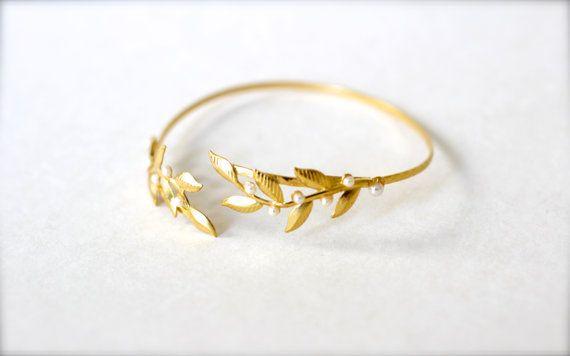 Twigs & Pearls Bracelet, Arm Band, Arm Cuff, Arm Bracelet, Gold leaves Wire Wrap Bracelet, Bridal Jewelry, Wedding Bracelet, Greek Style