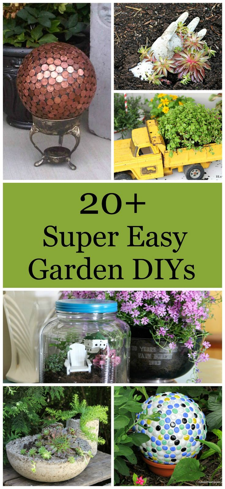 Over 20 DIY gardening projects that are super easy and fun to make. I love the penny ball!