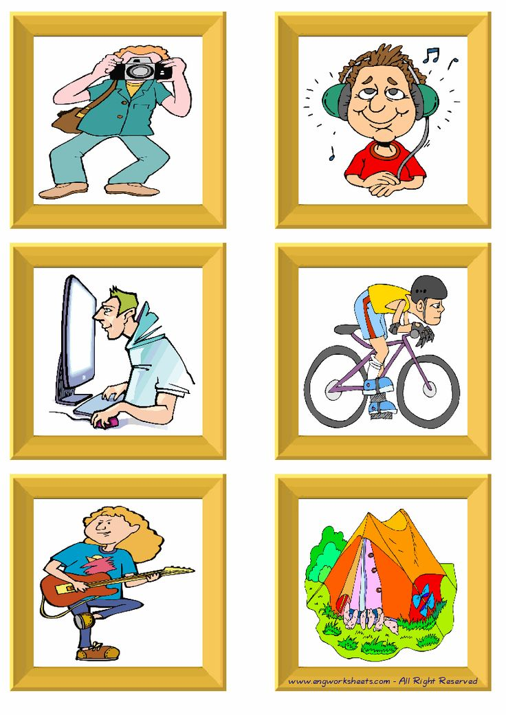 Hobbies ESL Little Flashcards For Kids And New Learner