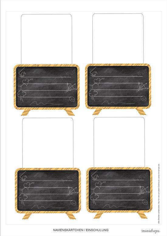 Kleine Tafel als Tischkarten oder Namenskärtchen für die Einschulung * Süße Mini Tafeln für die Tischdeko * kostenlos ausdrucken und los basteln *