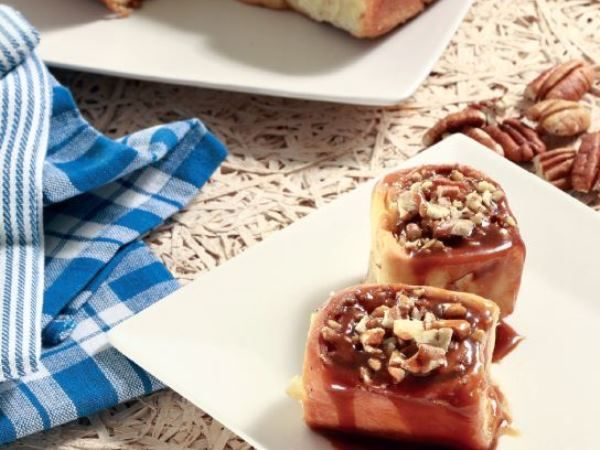 Caramel cinnamon rolls • This all-time favourite treat is covered with a sweet and salty caramel sauce.