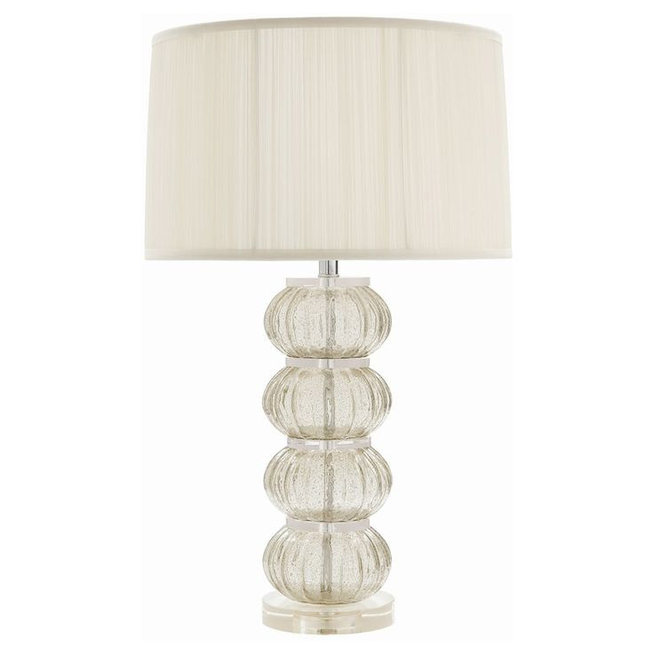 """The Arteriors Mya table lamp offers modern elegance to living rooms and bedrooms. Atop an acrylic mount, this fluted glass lighting accent delivers bubbled texture in a subtle smoke gray finish to eye-catching spheres. 19"""" Diameter x 31.5""""H. Shade: 19"""" Diameter x 11.5""""H. Cord: 8'L. Silk empire shade in Ivory. Accepts one 150-watt type A bulb (not included). Black 3-way rotary switch at socket. Acrylic base. Nickel-plated hardware. Clear silver cord. UL/cUL approved. Wipe down with soft, dry…"""