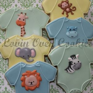 1 Doz Baby Onesie Safari/Jungle Theme Decorated Sugar Cookie - Baby Shower Favor - Giraffe, Lion, Elephant