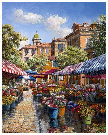 SAM PARK - NICE FLOWER MARKET. France. Limited Edition Giclee on canvas.