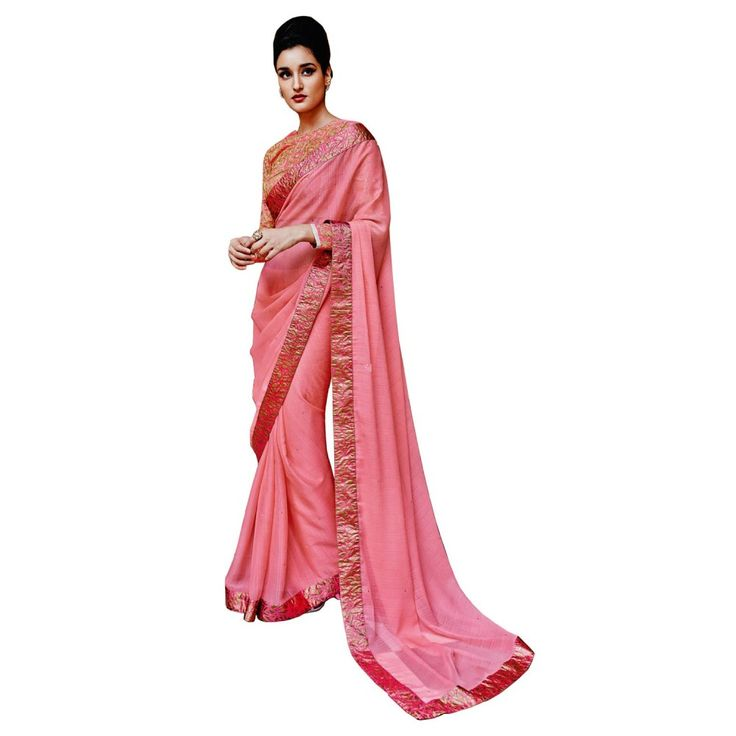 Pink Georgette Casual #Saree With Blouse- $47.10