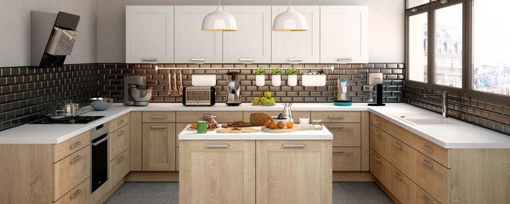 Cuisine équipée existe en 5 finitions de façade bois pour une finition chaleureuse et raffinée.