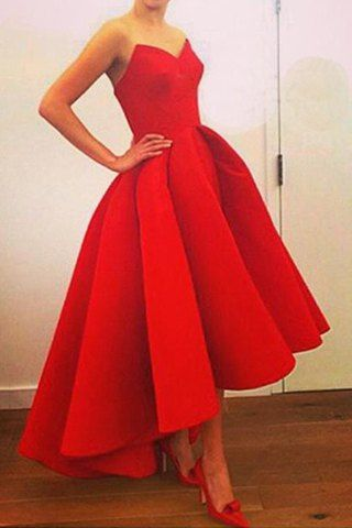 Noble Red Strapless High Waist Pleated Ball Gown Maxi Dress For WomenMaxi Dresses   RoseGal.com