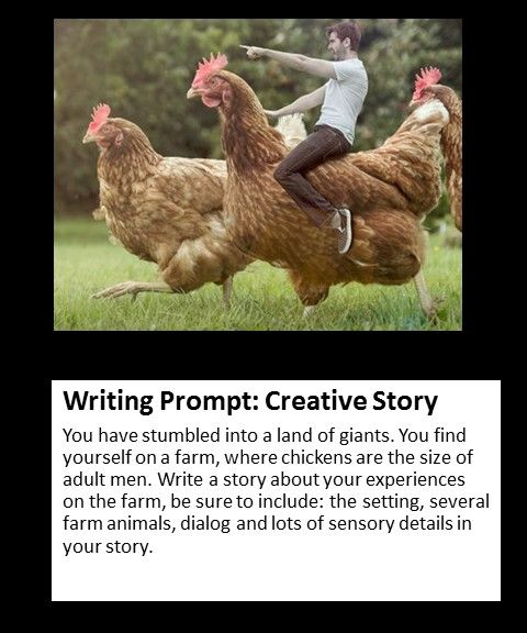 creative writing prompt ideas A large list of creative writing prompts, ideas, lists, and creative writing resources for elementary school students and teachers.