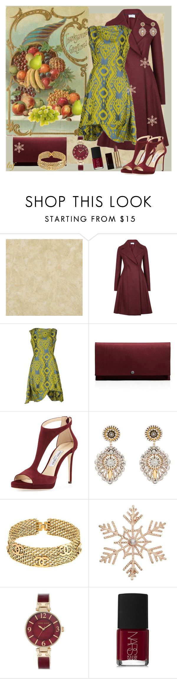 """""""Thanksgiving Fashions II"""" by lois-boyce-flack ❤ liked on Polyvore featuring Harris Wharf London, Vivienne Westwood Anglomania, Shinola, Jimmy Choo, Miguel Ases, Chanel, John Lewis, Anne Klein, NARS Cosmetics and Kevyn Aucoin"""