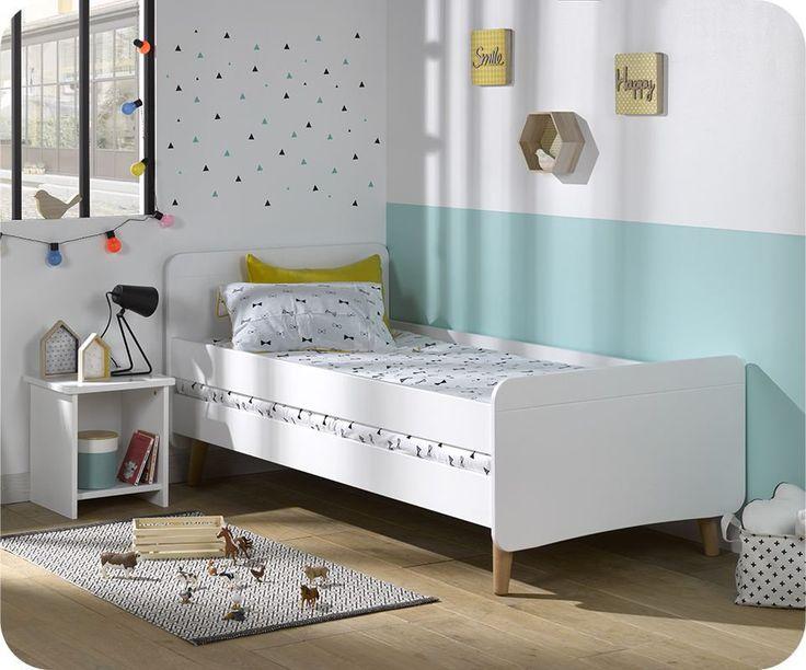 lit enfant willow blanc 90x190 cm avec pieds barri re en. Black Bedroom Furniture Sets. Home Design Ideas