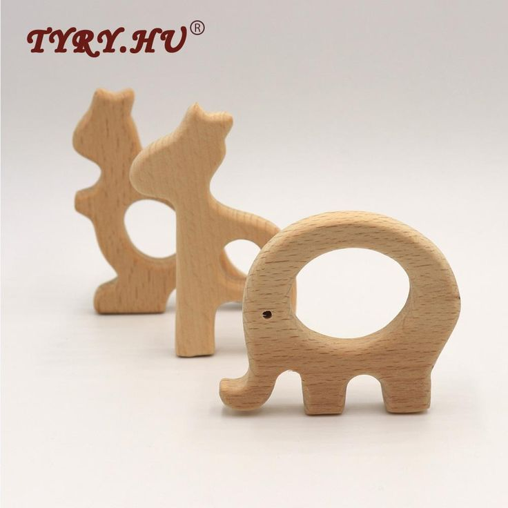 TYRY.HU Wooden Animal Teether, Beech Wood