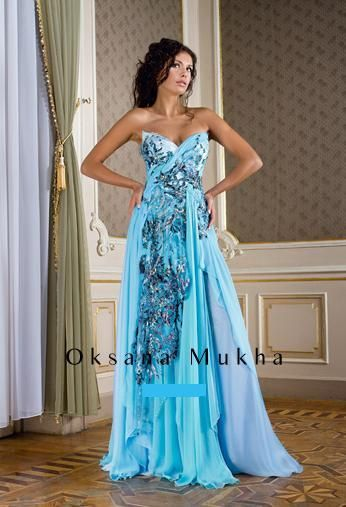 Sky blue, turquoise evening dress, formal wear by designer Oksana mukha