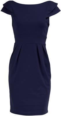 Billie And Blossom Navy Ponte Shift Dress With Pleat Shoulder Detail Waist Band