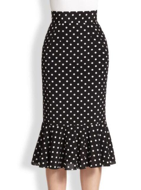 Dolce  Gabbana Polka Dot Silk Trumpet Skirt