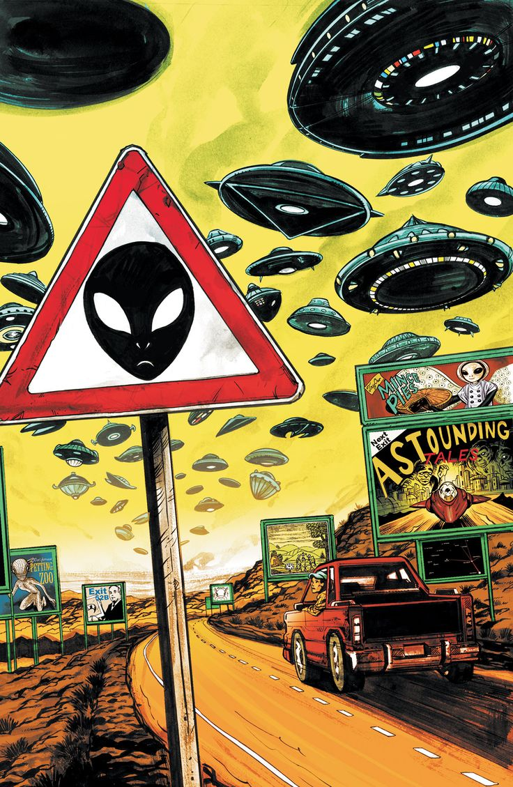 SAUCER COUNTRY #6 - In this special stand-alone issue, discover the history of the UFO myth in all its brilliant, contradictory, terrifying detail. Real-life stories, extraordinary theories and some horrifying conclusions abound. Meanwhile, Arcadia's team is in place to kick off her presidential campaign, but her enemies are circling too…