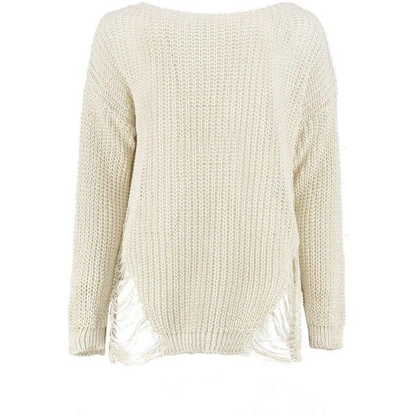 Boohoo Harriet Distressed Side Jumper (76 BRL) ❤ liked on Polyvore featuring tops, sweaters, party jumpers, knit turtleneck sweater, chunky white sweater, white wrap sweater and white turtleneck