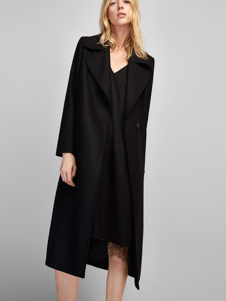 Autumn winter 2016 WOMEN´s LONG BLACK COAT at Massimo Dutti for 2199. Effortless elegance!