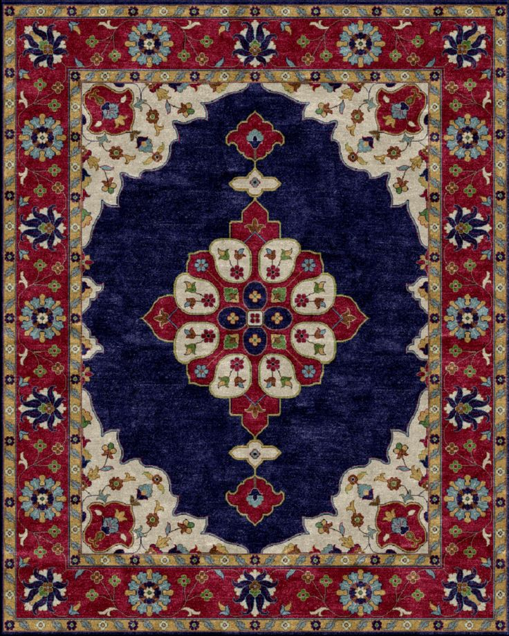 Mogul Hand Tufted Blue Burgundy Area Rug Products