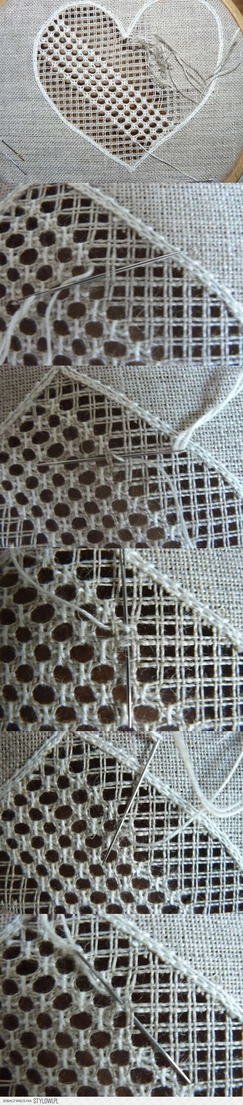 Hardanger Embroidery - This appears to be the same stitch used in chair seats.