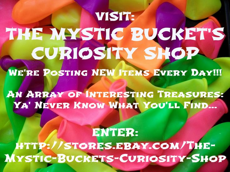 SHOP AND SAVE 15-50% OFF ~+~ NEW ITEMS LISTED DAILY!! ~+~ Check Out THE CURIOSITY SHOP eBay Store!! 200+ Collectibles, Home & Kitchen Goods, Toys, Jewelry & More... <3 Enter Here: http://stores.ebay.com/themysticbucketscuriosityshop #shopping #deals #mens #womens #kids #toys #forsale #vintage