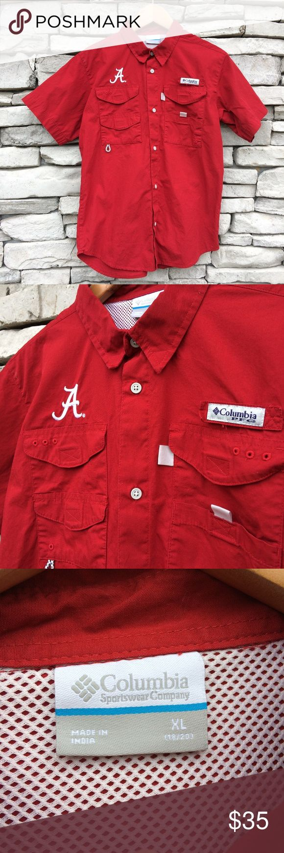 """COLUMBIA Youth XL University of AL PFG Shirt Size XL Youth Bust 38"""" Length 26"""" Measured flat  Excellent condition Columbia Shirts & Tops Button Down Shirts"""