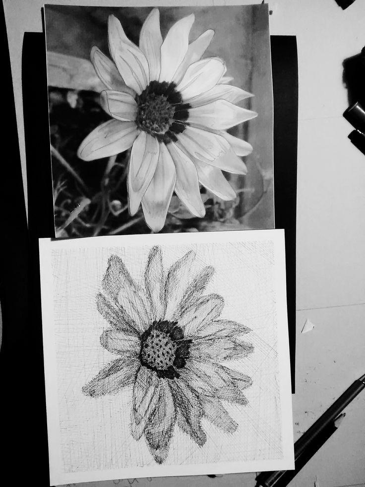 Flor - técnica achurado con tiralineas