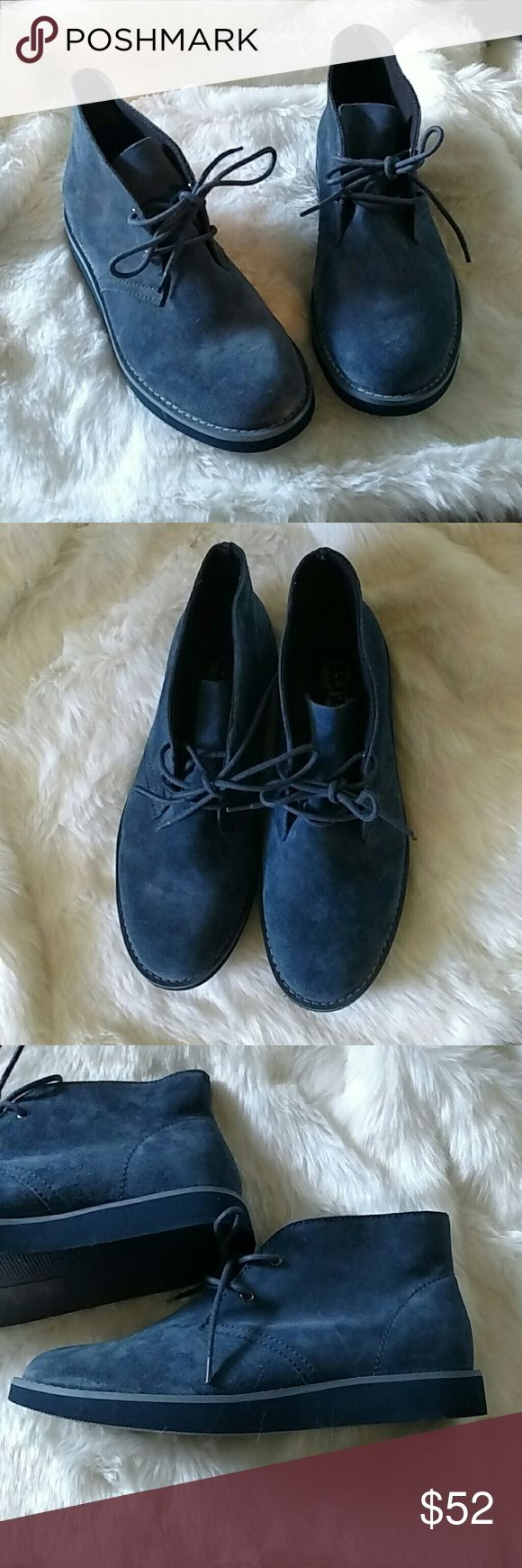 Alladin Desert Boots Blue Suede Boots?. Woman's? size 9! Never worn, only tried on. Super lightweight and comfortable. Features blue leather and two eyelets on either side. Gradually elevates slightly towards the back. *Cheaper Through ????* Cheap Monday Shoes Boots