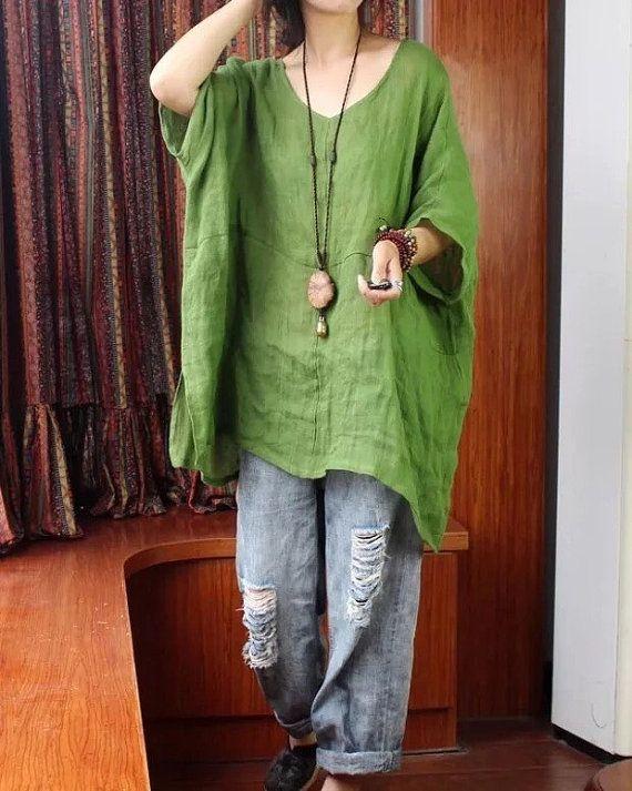 Femme lin top vert bleu blanc jaune par QuadHappiness sur Etsy