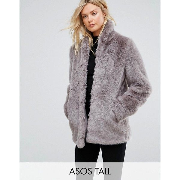 ASOS TALL Coat in Vintage Faux Fur ($100) ❤ liked on Polyvore featuring outerwear, coats, grey, fake fur coat, imitation fur coats, faux fur lined coat, grey coat and asos