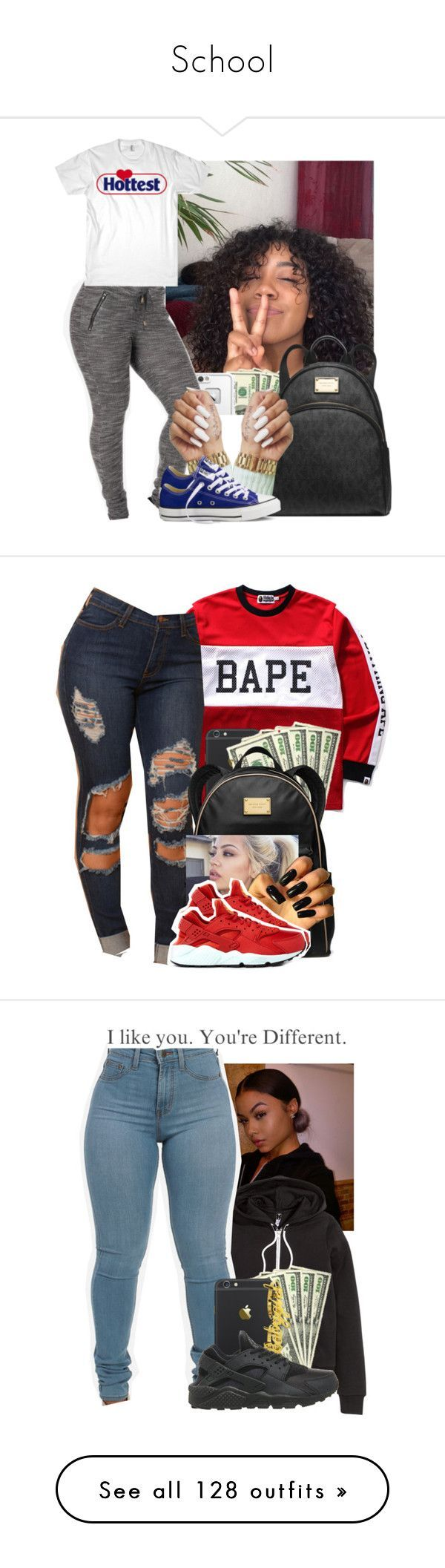 School by heavensincere ❤ liked on Polyvore featuring LifeProof, Michael Kors, Converse, A BATHING APE, MICHAEL Michael Kors, NIKE, HM, Joyrich, MCM and Moschino