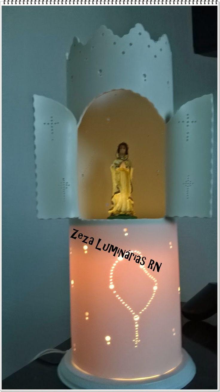 Zeza Luminárias RN: Luminária em PVC 100 mm...Oratório...Alt...30 cm