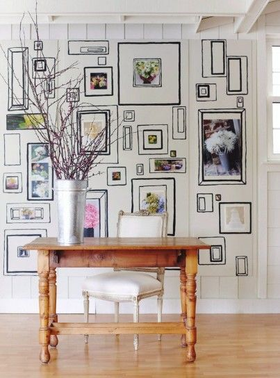 I like the idea of painting the frames on the wall instead of hanging them.