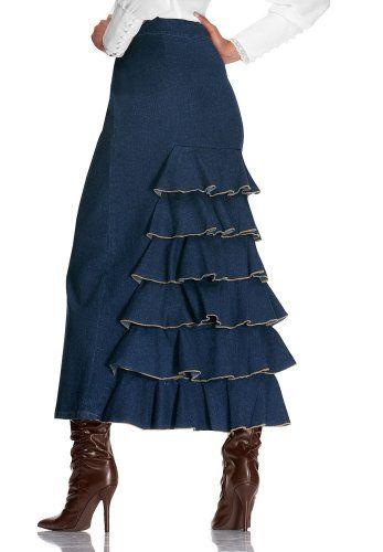 Ruffle back denim skirt