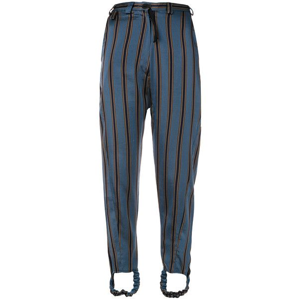 Barbara Bologna striped slim fit trousers ($623) ❤ liked on Polyvore featuring pants, blue, striped trousers, striped pants, slim fitted pants, blue stripe pants and slim fit pants