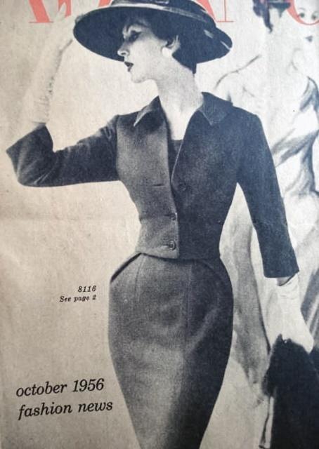 1950s SLIM SHEATH DRESS, CROPPED JACKET PATTERN FIGURE SHOW OFF STYLE ADVANCE PATTERNS 8116