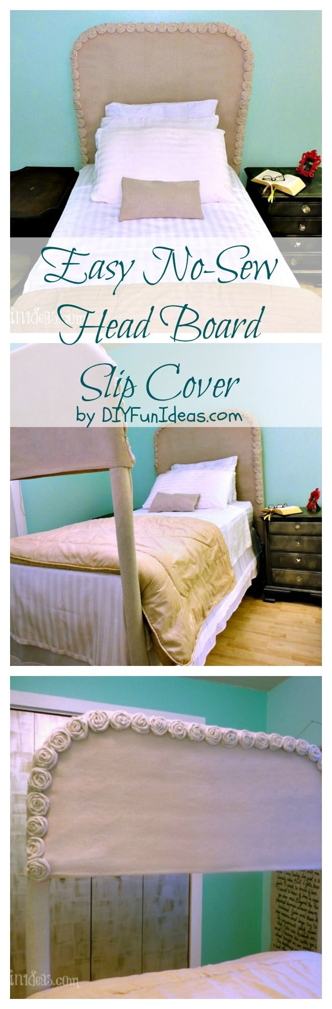 Easy $13 bedroom update with DIY NO-SEW HEADBOARD SLIP COVER W/ DROPCLOTH ROSETTES! ..........Find tons more DIY's at DIYFunIdeas.com