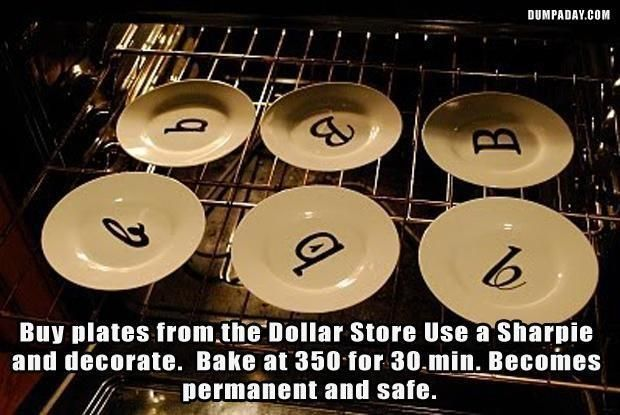 Buy plates from the Dollar store, use a sharpie and decorate. Bake at 350 for 30…