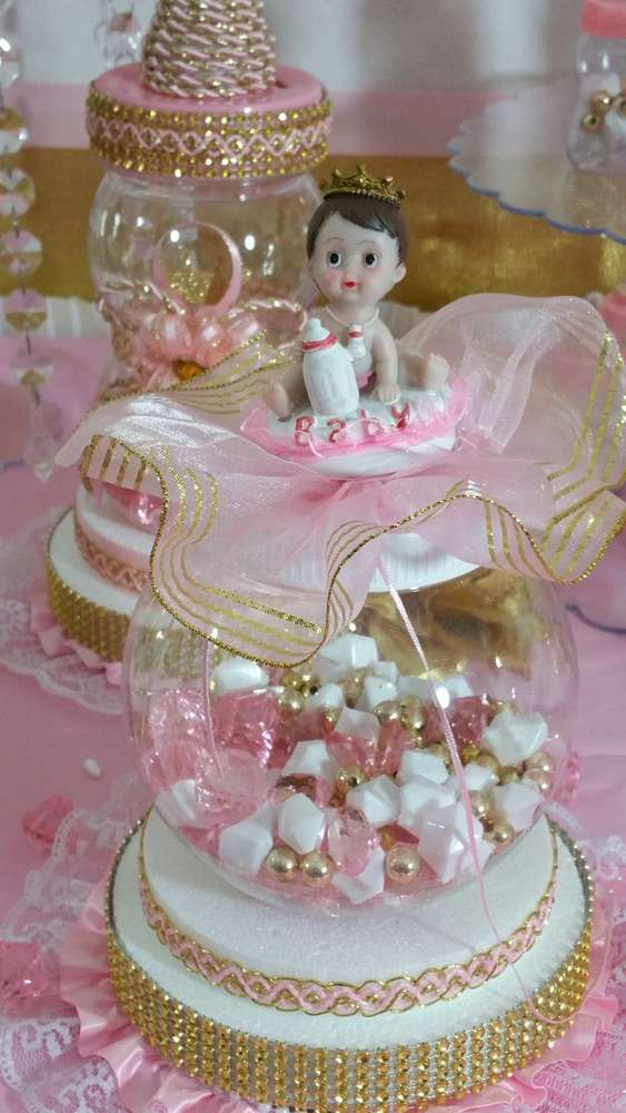 Pretty decoration at a pink and gold baby shower party! See more party planning ideas at CatchMyParty.com!