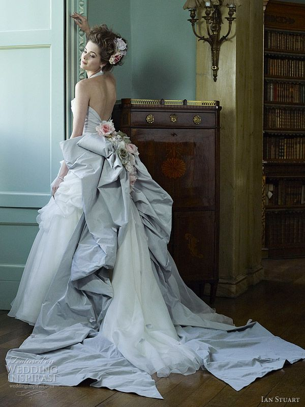 """Bluebird"" long pastel blue and white formal gown with bustle bow from Ian Stuart."