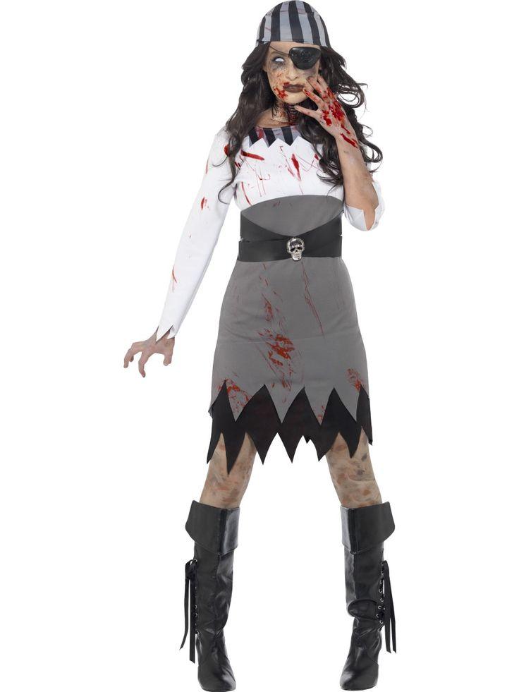 Zombie Piraattineito. Naamiaisasu on merirosvoteemainen naamiaisasu, jossa on zombieille tyypillisesti verijäljet sekä repaleiset yksityiskohdat.