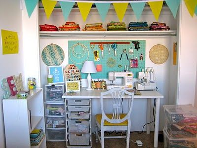 Oh my!  This Sewing closet is not only delightfully lovely, it's delightfully DOABLE!  And that's awesome.