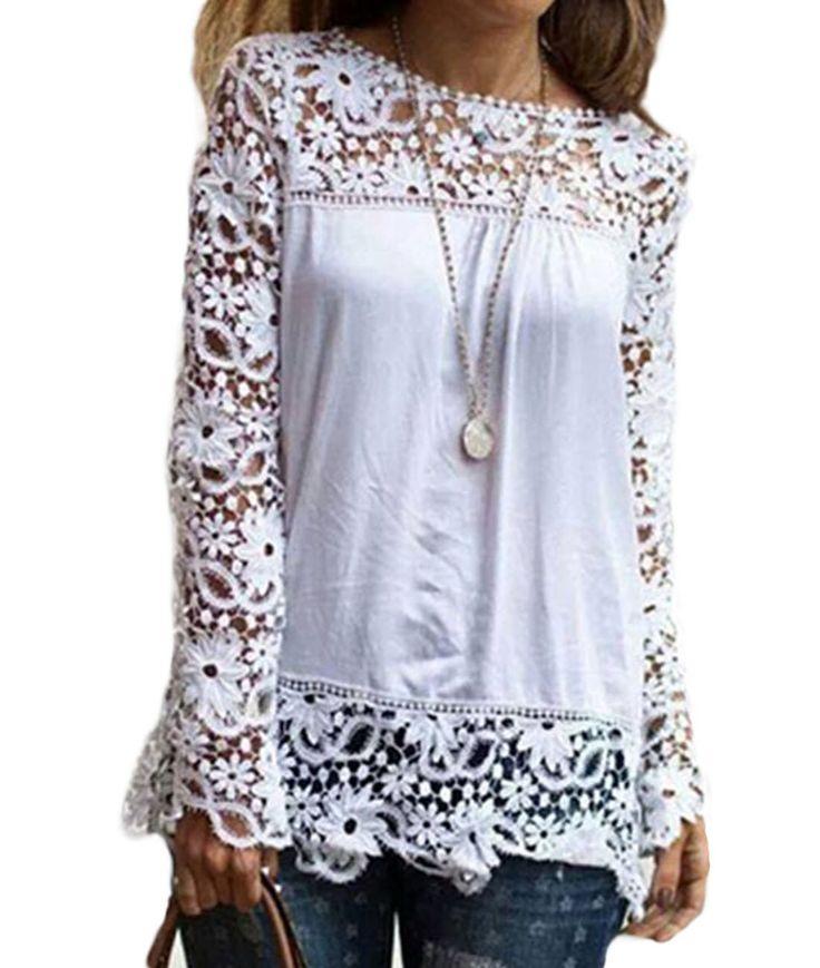 Vakind® Women Autumn Hollow Long Sleeve Lace Chiffon T-shirt Tops Casual Blouses (XL=US10)