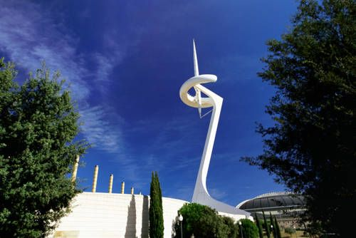 The Montjuic Communications Tower by Santiago Calatrava was built to transmit television coverage of the 1992 Summer Olympics Games in Barcelona, Spain.