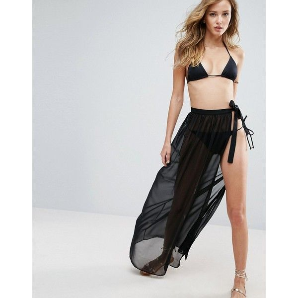 ASOS Maxi Chiffon Beach Sarong with Satin Tie ($21) ❤ liked on Polyvore featuring swimwear, cover-ups, black, beach sarong, beach cover up, asos, asos swimwear and chiffon beach cover up