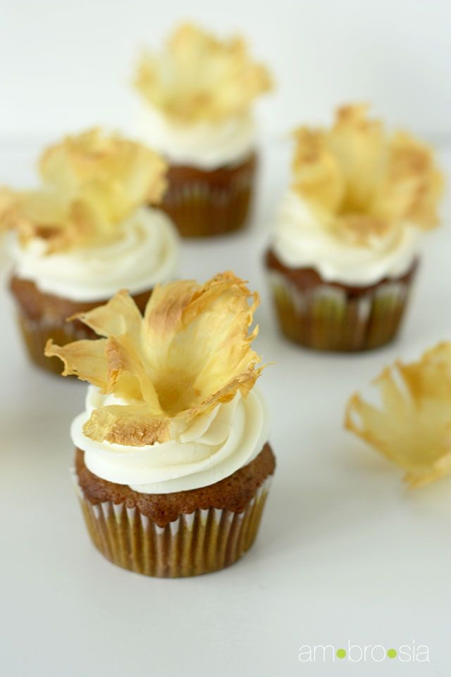 New Post!  Hummingbird Cupcakes with Cream Cheese Frosting and Dried Pineapple Flowers, perfect for Mother's Day!
